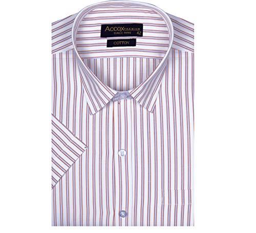 ACCOX Men's Striped Half Sleeves Regular Fit Cotton Formal Checkred Shirts(GCR08)