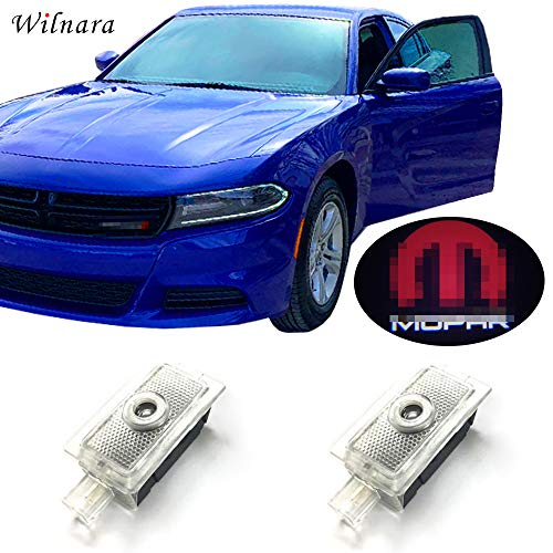 WILNARA Car Door LED Logo for Dodge Charger Projector Ghost Shadow Lights, LED Courtesy Step Lights Ground Lamp Kit Replacement (No.27)
