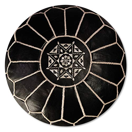 Marokkanischer Echtleder Pouf - Schwarz - Handgefertigt - gefüllt geliefert - Ottoman Sitzsack Fußhocker