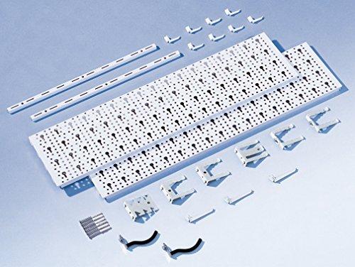 Element System Werkzeugwand aus Metall plus 18 teiliges Werkzeughalterset inklusive Schrauben und Dübel, Lochwand zur Werkzeugaufbewahrung weiß - 6