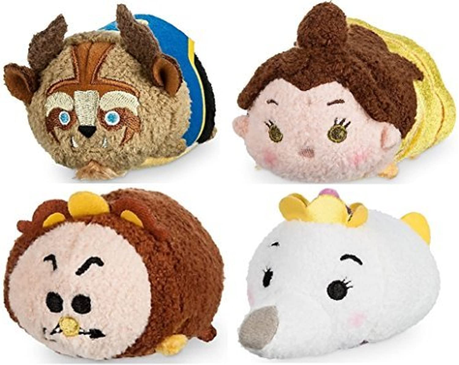 Disney Store Beauty & Beast Mini Tsum Tsum Set of 4 Cogwsorth Mrs Potts by Disney Interactive Studios