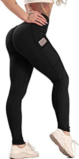 STARBILD Women's Ruched Butt Lifting Yoga Pants with Pockets Tummy Control Workout Running High Waist Leggings