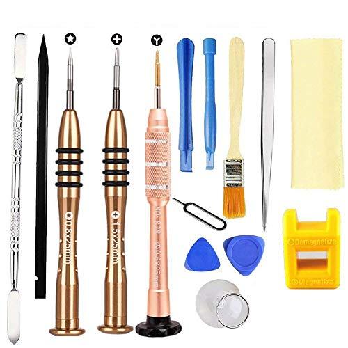 Matchwill Kit de herramientas de reparación de destornilladores para iPhone7, iPhone, iTouch, iPod y otros teléfonos o dispositivos inteligentes 14 en 1 Oro