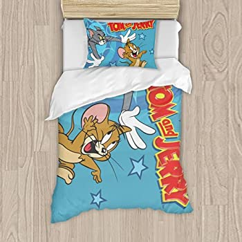 Tom and Jerry Bedding Set Cartoon Comforter Set with Pillowcases for Kids Boys Teens Duvet Quilt Cover Bed Set Twin