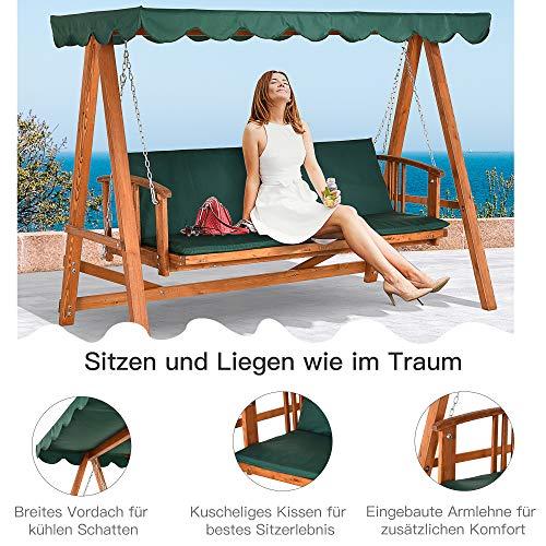 Outsunny® Hollywoodschaukel mit Sonnendach Echtholz-Gartenschaukel Schaukelbank Schaukel mit Liege-Funktion aus Lärchenholz für 3-4 Personen - 4