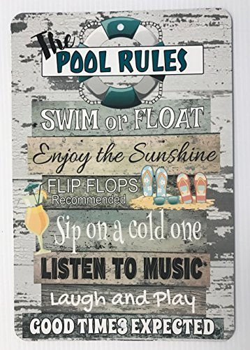 Monsety Lustige Metallschilder Pool Rules, Schwimmbad, Dekoration, Garage, Haus, Hof, Zaun aus Aluminium