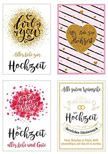 Edition Seidel Set 4 exklusive Hochzeitskarten mit feiner Goldprägung Glimmerveredelung und...