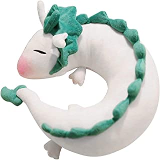 Kizove White Dragon U Pillow Japanese Animation Dragon Haku Doll Plush Toy Pillow Neck U-Shape Travel Pillow Lovely Dragon Soft Stuffed Plush Toy Perfect Christmas Birthday Gift Home Decoration
