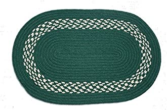 product image for Oval Braided Rug (3'x5'): Dark Green,- Dark Green & Cream Band