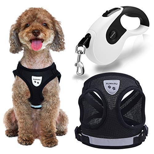 """Dog Harness with Retractable Leash Set - Best No Pull Dog Harness with 16ft Retractable Dog Leash Set Includes Adjustable Reflective No Pull Harness and Retractable Leash (M (Chest: 14"""" - 16""""), Black)"""