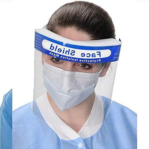 Visiera protettiva, unisex, regolabile, trasparente, traspirante, riutilizzabile, anti-appannamento, anti-spruzzo, con fascia elastica e spugna., Face Cover B