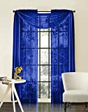 Empire Home New Royal Blue 216' Long Sheer Curtain Valance Window/Scarf Great Value
