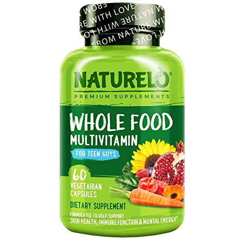 NATURELO Whole Food Multivitamin for Teenage Boys - Vitamins and Minerals Supplement for Active Kids - with Plant Extracts - Non-GMO - Vegan & Vegetarian - 60 Capsules