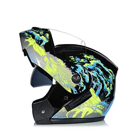 Dgtyui Motorcycle double visor helmet modular flip helmet racing dual lens capacete casco moto helmet with good ventilation - 6A X XL