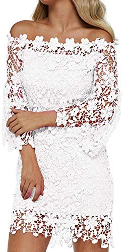 Marshall Darren Women's Vintage Off Shoulder Floral Lace Long Sleeve Boat Neck Club Cocktail Party Swing Bodycon Dress