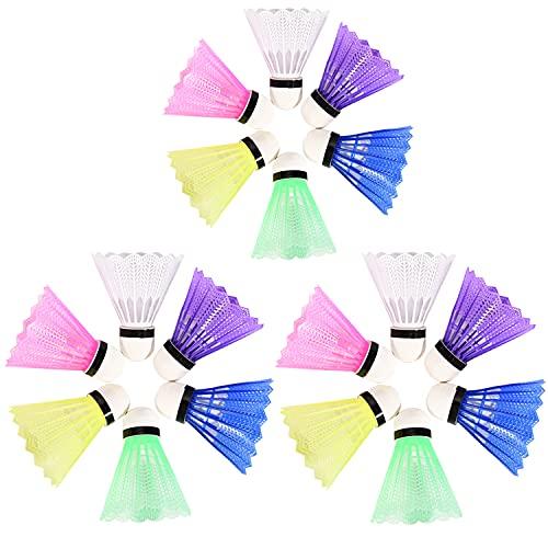 FORMIZON Badminton Federball, 18 Stück Badminton Bälle, Bälle Naturfederbälle Regenbogen Federbälle für Indoor,Outdoor Sport, Training, Unterhaltung, Bewegung