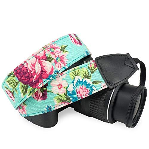 Wolven Pattern Canvas Camera Neck Shoulder Strap Belt Compatible with All DSLR/SLR/Men/Women etc (Green Vintage Floral)