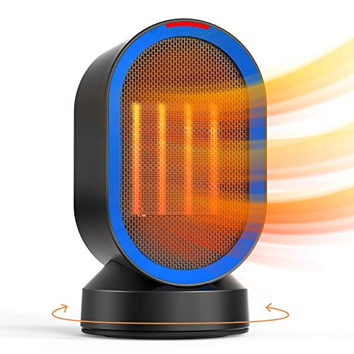 ALROCKET Personal Space Heater Oscillating Desk Heater, with Safe Tip-Over and Overheat Auto Shut Off, Ceramic 2-Second Quick Heating for Indoor Use