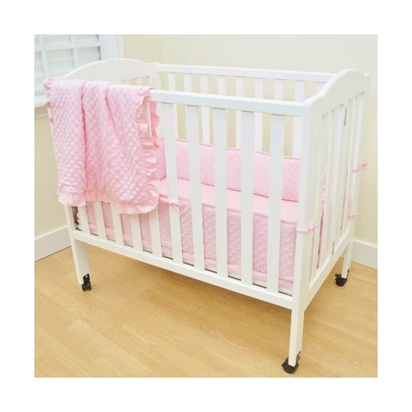 American Baby Company Heavenly Soft Minky Dot Chenille Portable/Mini Crib Bedding Set, Pink,3-Piece, for Girls