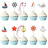 72 Pieces Nautical Cupcake Toppers for Ocean Sailing Theme Party Birthday Party Baby Shower Wedding Party Decorations (Pirate Ship, Whale, Sailboat, Ocean Sailing Yacht Boat)
