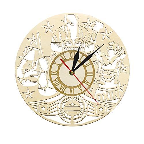 yage Reloj de Pared Vintage de Madera de Boxeo, Reloj Deportivo de Boxeo, Entrenamiento físico, Arte de Pared, Lucha marcial, decoración del hogar, Reloj de Pared rústico
