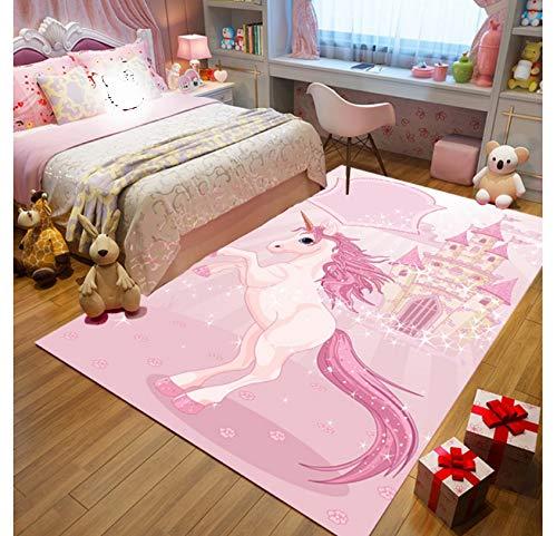Tappeto Per Bambini Stampa Unicorno Rosa Simpatico Cartone Animato Camera Per Bambini Gioco Coperta Tappetino Antiscivolo In Poliestere 80cmx150cm