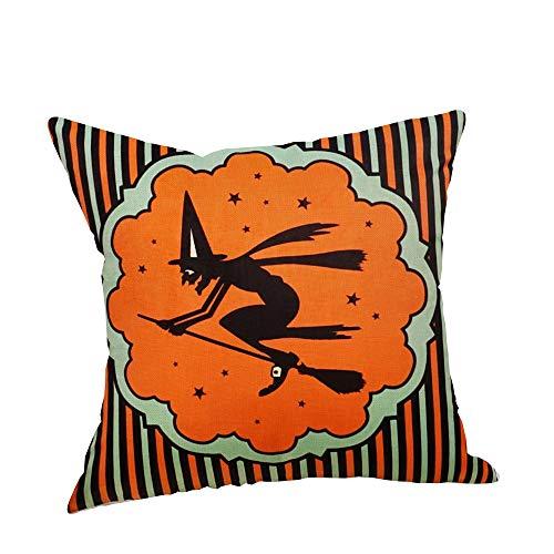LOKODO Halloween Pillow Cases Linen Pumpkin Ghosts Cushion Cover Home Decor Pillow Covers for Car Sofa Bed Chair