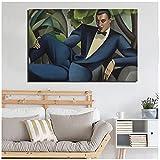 zkpzk Tamara De Lempicka Blue Man Arte De La Pared Pintura En Lienzo Carteles Impresiones Pintura Moderna Cuadro De Pared para Sala De Estar Decoración del Hogar-60X80Cmx1 Sin Marco