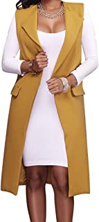 Women's Solid Lapel Long Suit Waistcoat Vest Trench Coat Sheath Cardigan Jacket