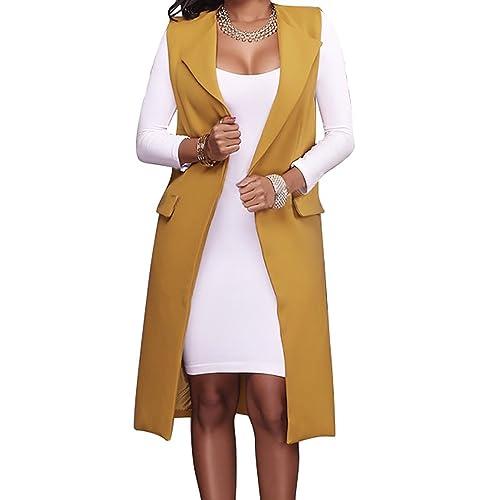 f73cc153183209 Hestenve Women s Solid Lapel Long Suit Waistcoat Vest Trench Coat Sheath  Cardigan Jacket