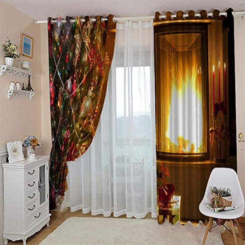 Children's Bedroom Curtains 46x72 Inch Christmas tree closet gifts candles Blackout curtain Super Soft Winter Energy Saving/Summer Sun Blocking/Noise Reducing Curtain for Living Room Bedroom Nursery 2