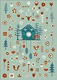 Posterlounge Leinwandbild 100 x 130 cm: Kuckucksuhr im Scandi Look von NIC Squirrell - fertiges Wandbild, Bild auf Keilrahmen, Fertigbild auf echter Leinwand, Leinwanddruck