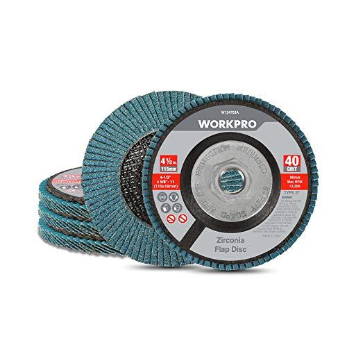 WORKPRO 5 Pack Zirconia Flap Disc, 40 Grit, Angle Grinder Sanding Disc,...