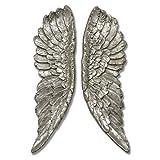 DOWNTON INTERIORS Adorno de Pared de alas de ángel de Plata Envejecida (H18425) Altura 61 cm * * También Disponible en tamaño más Grande * *