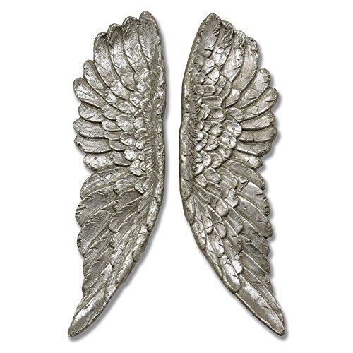 Decoración de pared, diseño de alas de ángel plateadas, estilo antiguo y elegante, para colgar en la pared, 61 cm