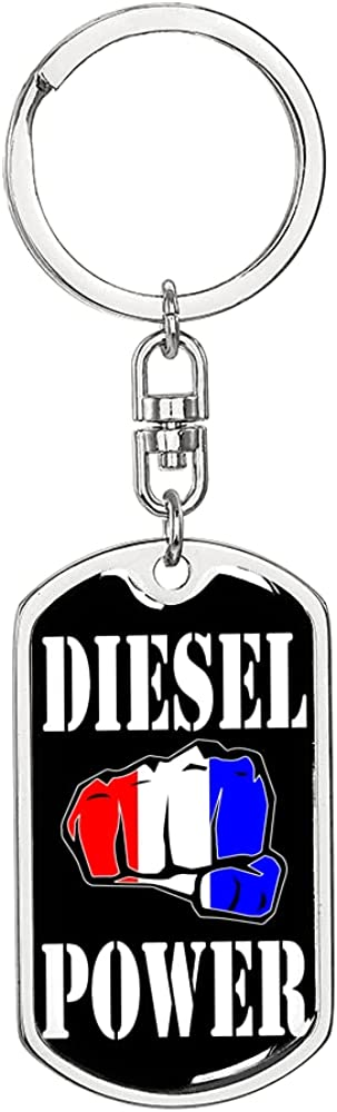 Diesel sale Power Max 48% OFF Swivel Keychain Dog Tag 18k Steel or Gold Stainless