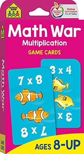 School Zone - Math War Multiplication Game Cards - Ages 8+, 3rd Grade, 4th Grade, 5th Grade, Math...
