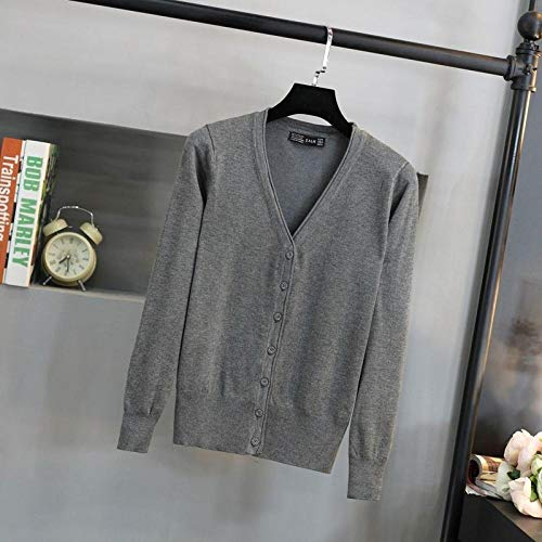 V-neck Thin Button Decoration Cardigan Sweater Femal Frill Solid Color Simple Style Single-breasted Knitted Sweater Women Spring Hyococ (Color : 9, Size : One Size)