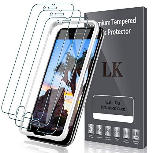 LK Schutzfolie Kompetibel mit iPhone SE 2020 Panzerglas mit Positionierhilfe, 4.7 Zoll, 9H Härte Folie, HD Klar Panzerfolie, Kratzen, Blasenfrei, Einfacher, Montage-LK-X-50