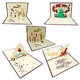STOBOK 3D Tarjetas de Felicitación para Navidad Tarjetas Decoraciones Colgantes Navideñas 5 Piezas