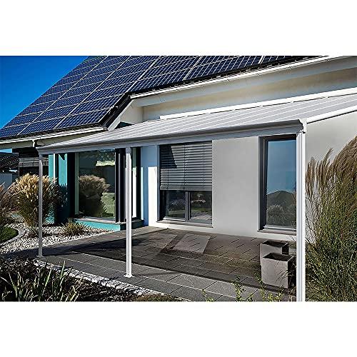 Home Deluxe - Terrassenüberdachung weiß - Maße 495 x 303 x 226/278 cm I Wintergartendach Verandaüberdachung Vordach