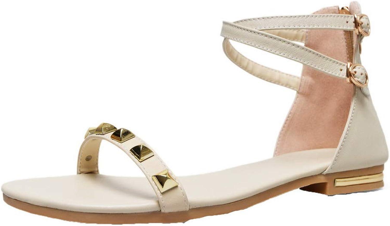 AmoonyFashion Women's Open-Toe Low-Heels PU Solid Zipper Sandals