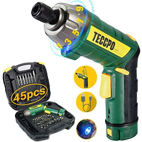 TECCPO Screwdriver, 45-Piece, 4V