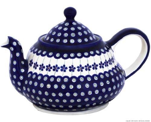 Original Bunzlauer Keramik Teekanne 2.0 Liter mit integriertem Sieb im Dekor 166a