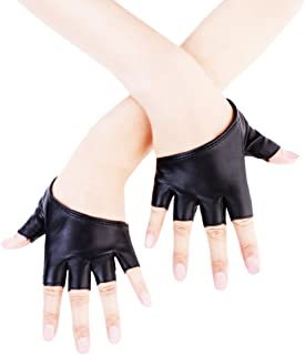 JISEN Women Half Palm Half Finger PU Leather Dancing Punk Gloves