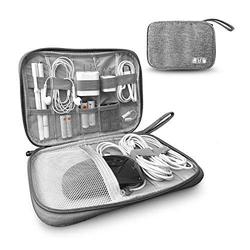 Toolbay Electronic Cord Organizer Bags for Charger, Travel Charger Organizer, Cables, Small, Pens, Pencils, Cord Storage and Accessory Bag, Grey, Great for Travel, Back to School and to Keep Tidy