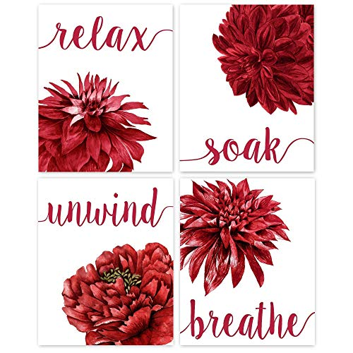 Relax Soak Unwind Breathe Red Blend Bathroom Flower Poster Prints, Set of 4 (8x10) Unframed Photos, Wall Art Decor Gifts Under 20 for Home, Office, Salon, College Student, Teacher, Floral Fan