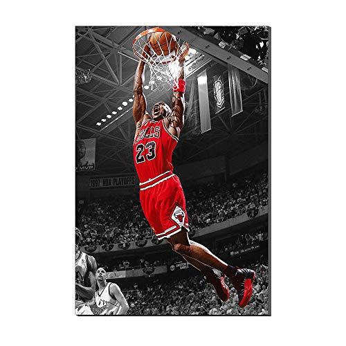 Karen Max Impression sur toile motif Michael Jordan Slam Dunk Air légende du basketball, idée cadeau, décoration intérieure, poster sport sur toile pour peinture à l'huile