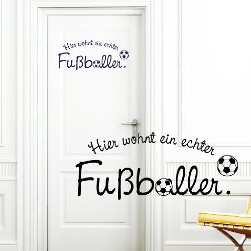 """Wandtattoo-Loft Türaufkleber """"Hier wohnt EIN echter Fußballer"""" Kinderzimmer/schwarz / 20 x 48 cm"""