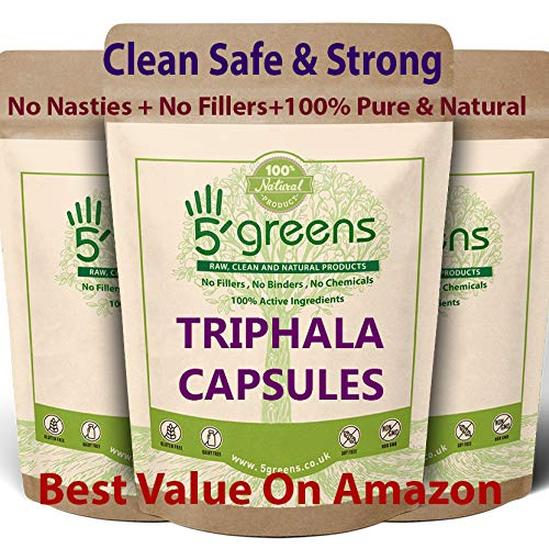 Triphala Capsules,120 Caps,Super Strong 10: 1 Extract - 10 Times Stronger & Effective Then RAW Powder | Body Tonic, Ethical & Vegan,Made in The UK 5greens